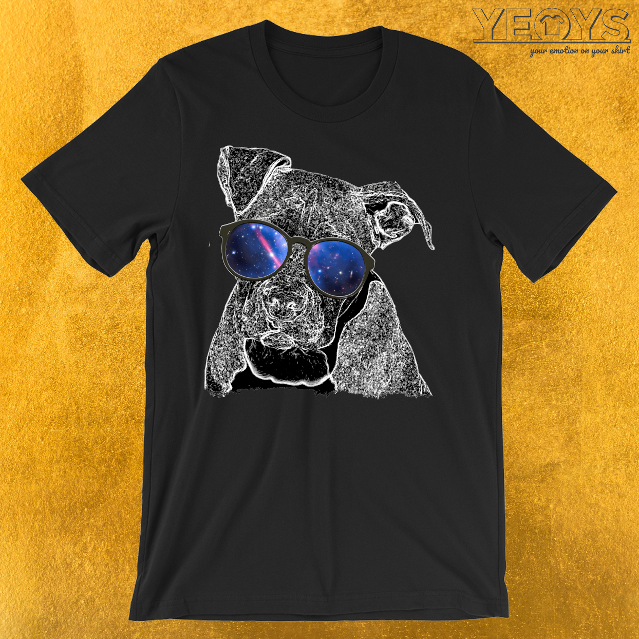 Pit Bull Nerdy Glasses Galaxy T-Shirt