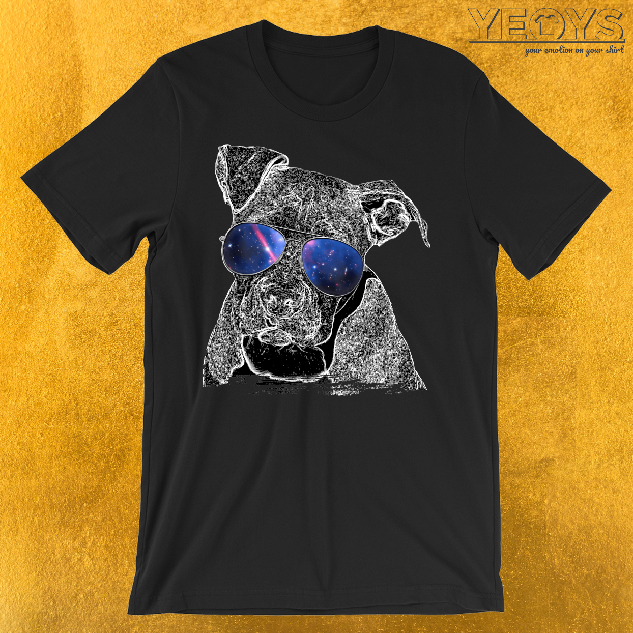 Pit Bull Sunglasses Galaxy T-Shirt