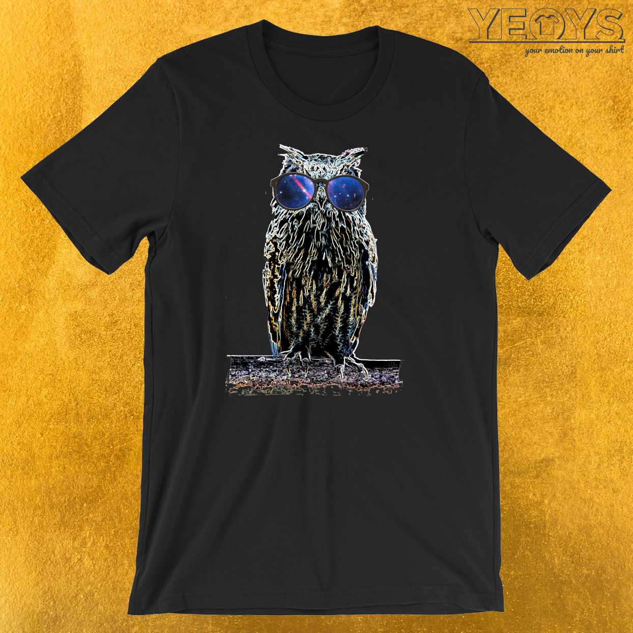 Owl Nerdy Glasses Galaxy T-Shirt