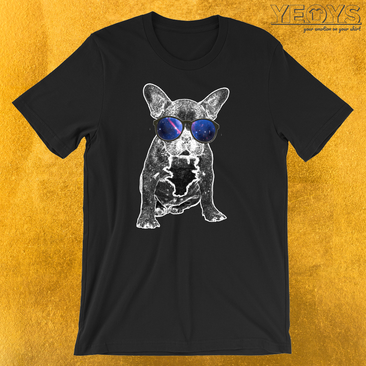 French Bulldog Nerdy Glasses Galaxy T-Shirt