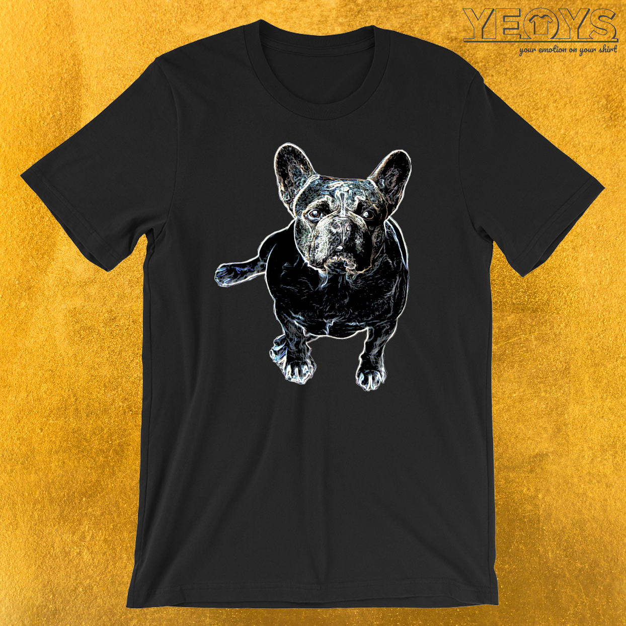 Colorful Line Art Pug T-Shirt