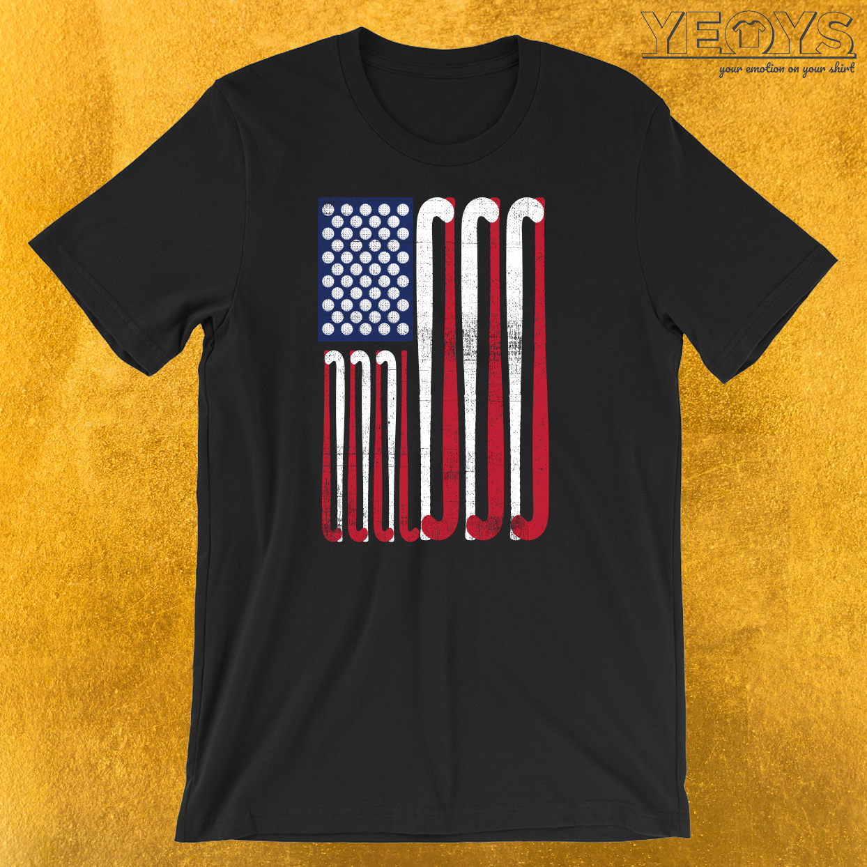 USA Flag Field Hockey T-Shirt
