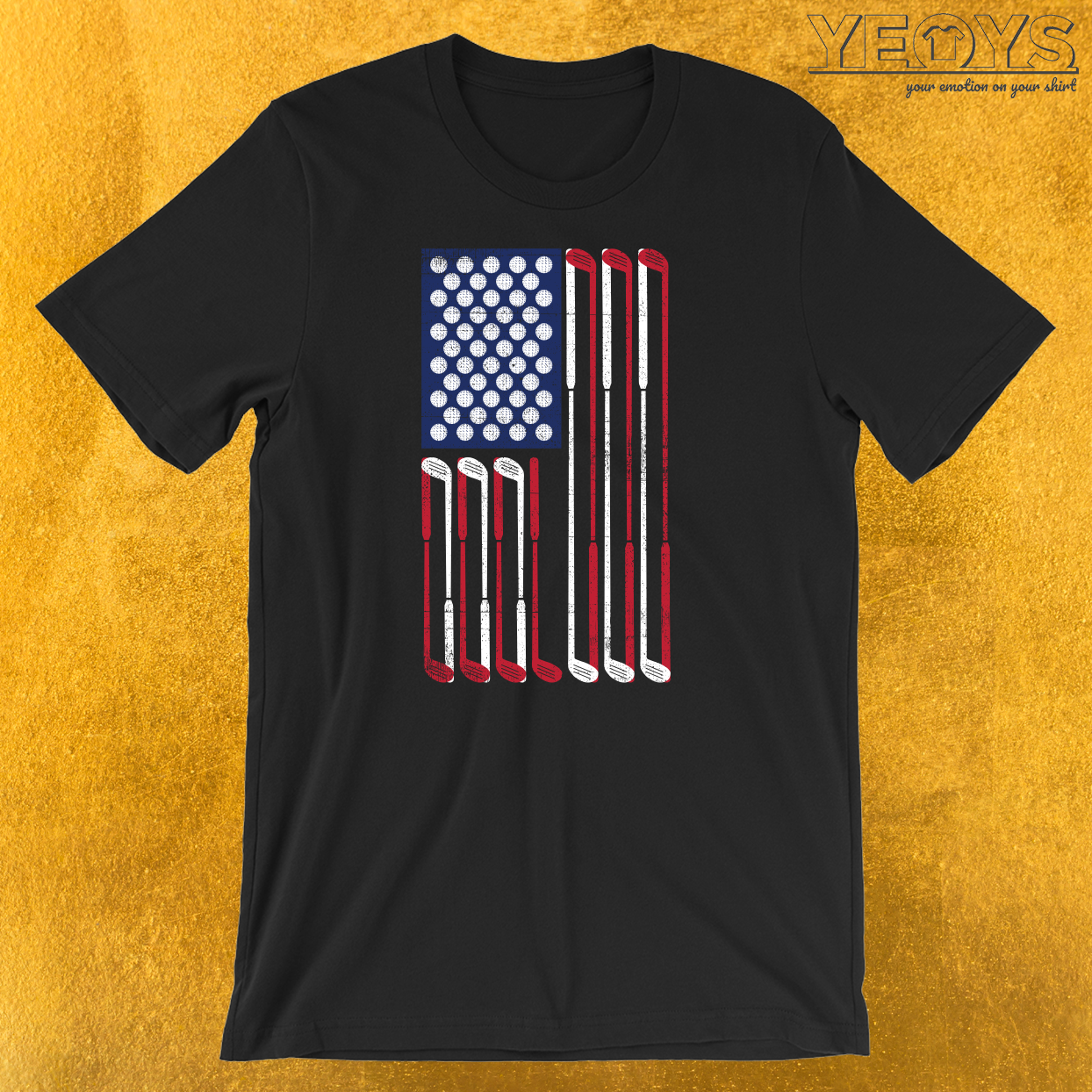 USA Flag Golf T-Shirt
