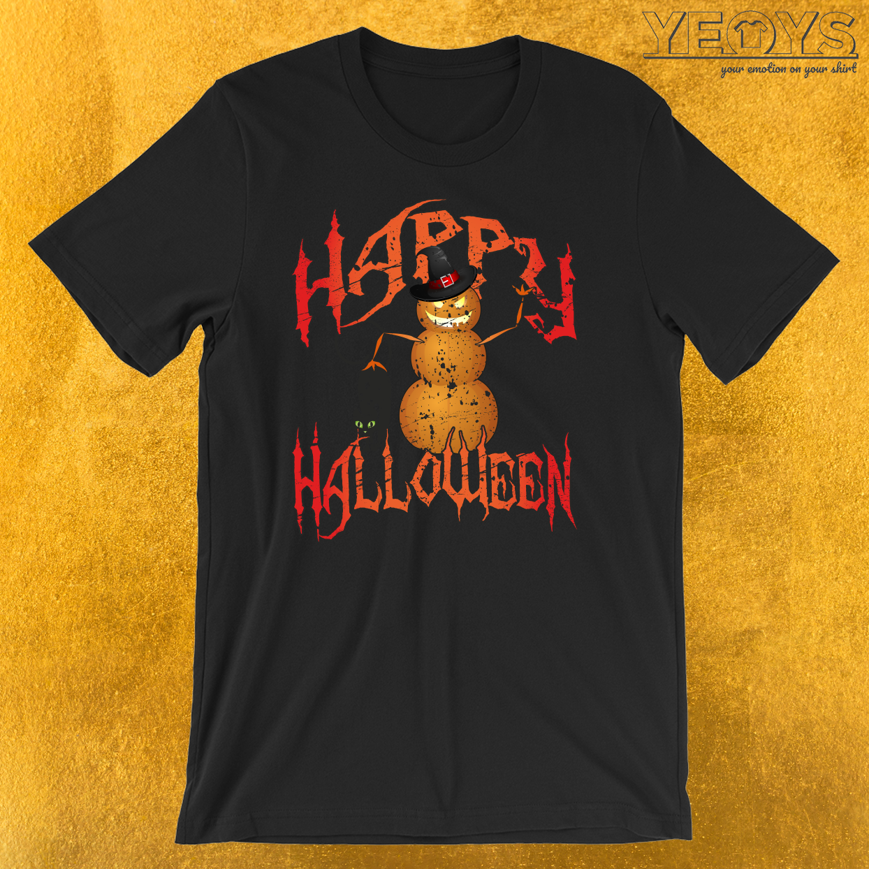Happy Halloween Pumpkinman Snowman T-Shirt