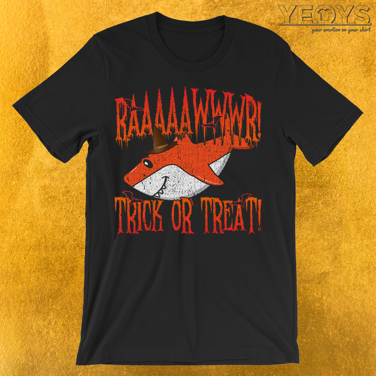 Rawr Trick Or Treat Shark Halloween Costume T-Shirt