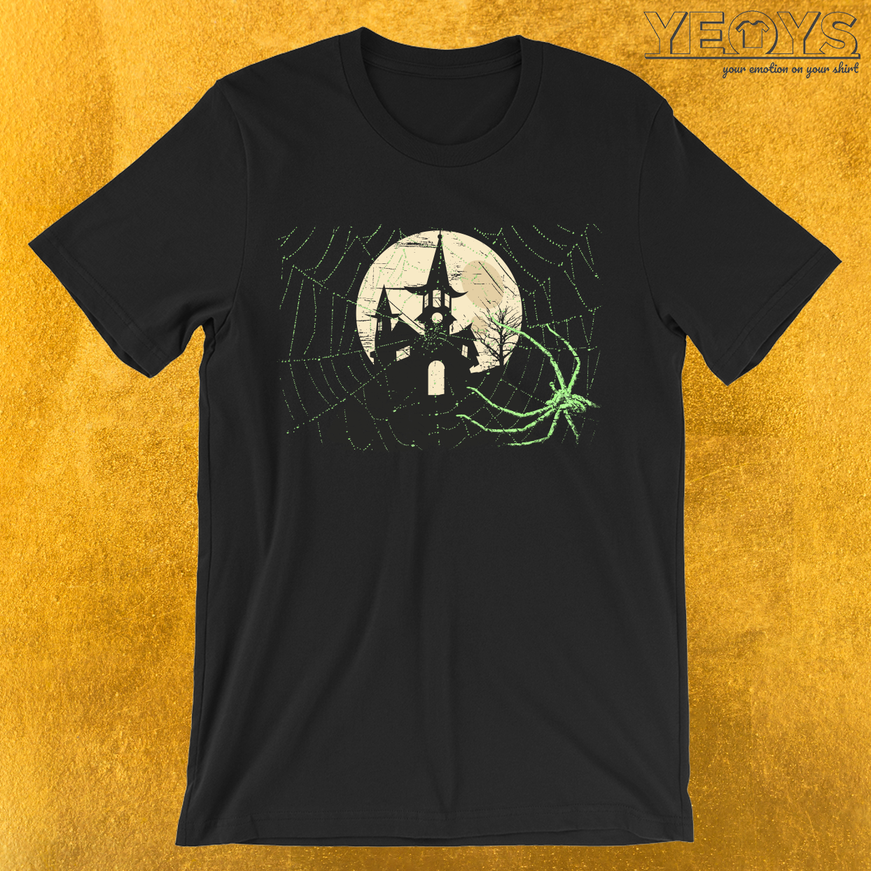 Spider Halloween Haunted Moon House T-Shirt