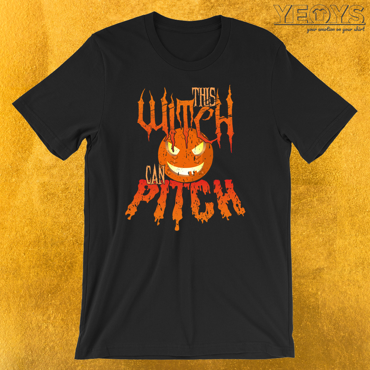 This Witch Can Pitch Halloween Softball T-Shirt