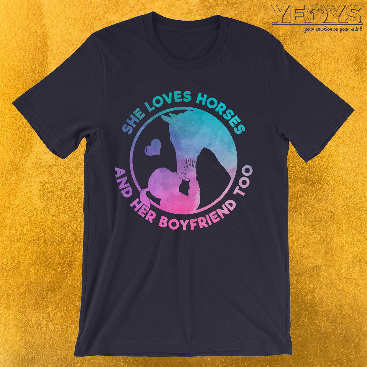 She Loves Horses And Her Boyfriend Too T-Shirt