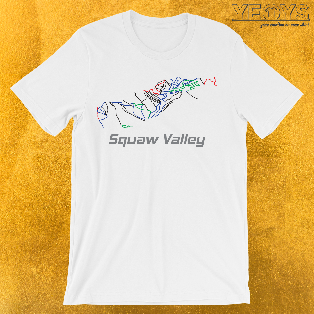 Squaw Valley California Ski Pist Map T-Shirt