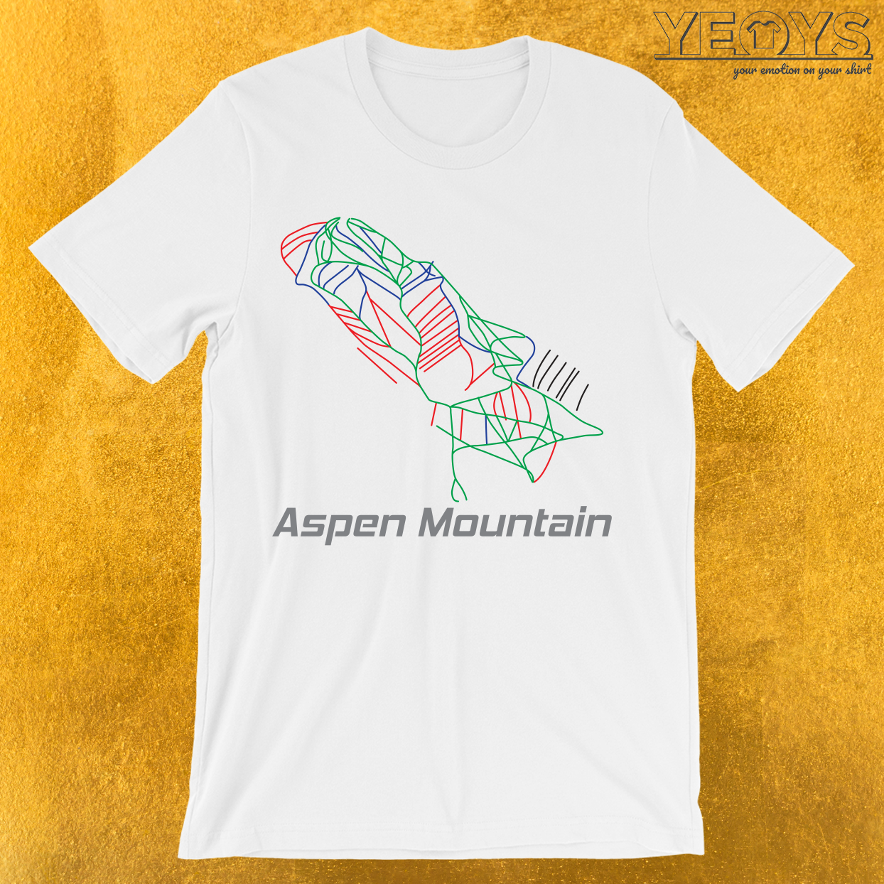 Aspen Mountain Colorado Ski Pist Map T-Shirt