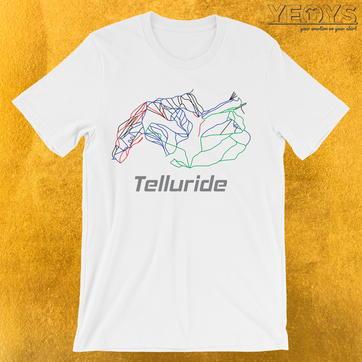 Telluride Colorado Ski Pist Map T-Shirt