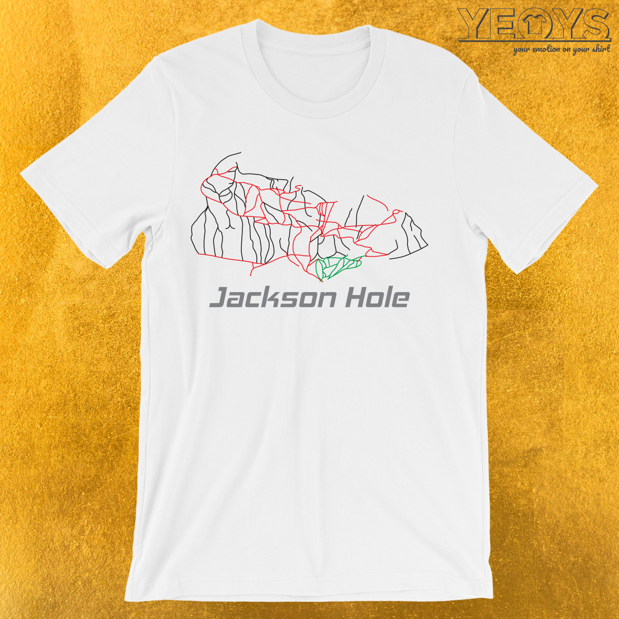 Jackson Hole Wyoming Ski Pist Map T-Shirt