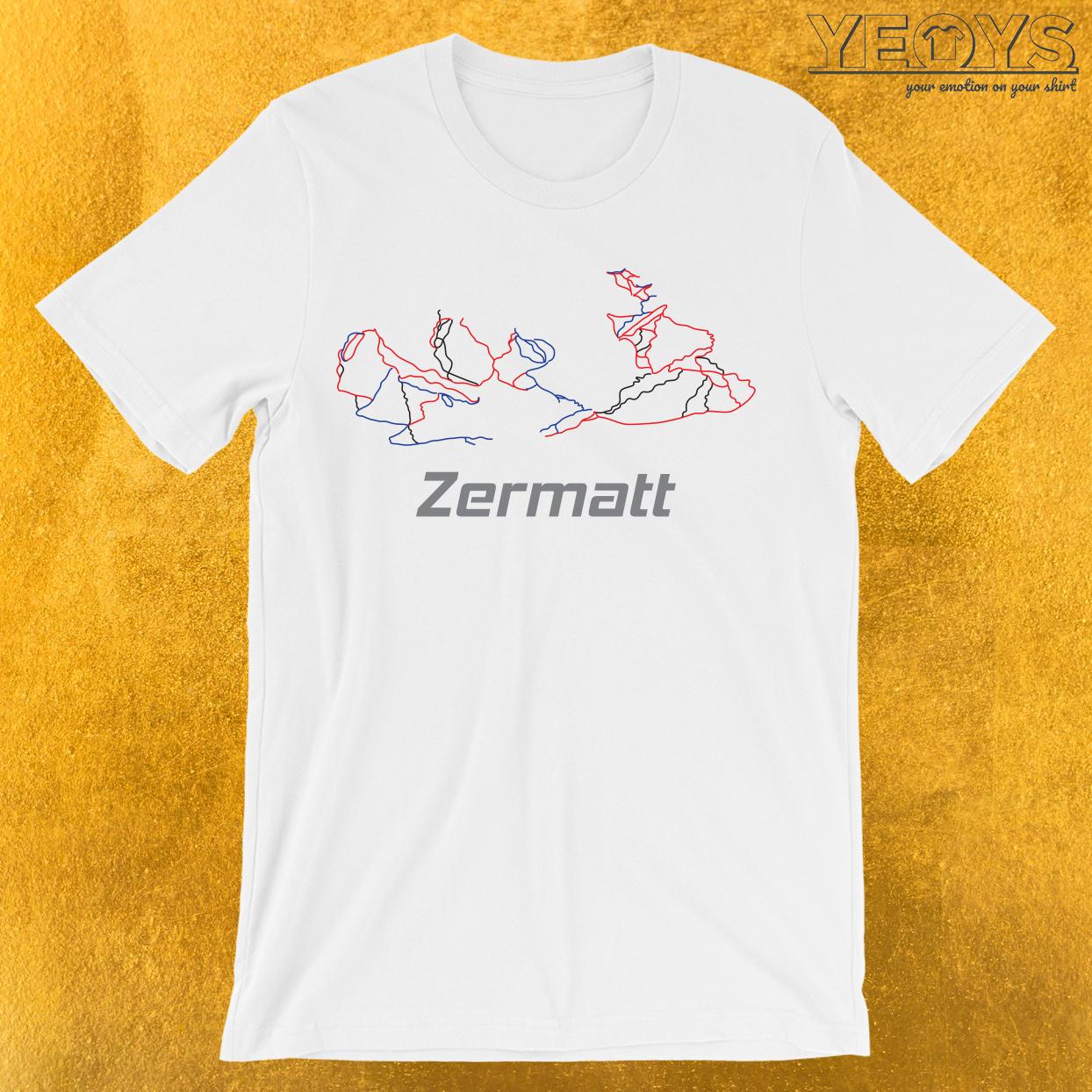 Zermatt Schweiz Ski Piste Karte T-Shirt