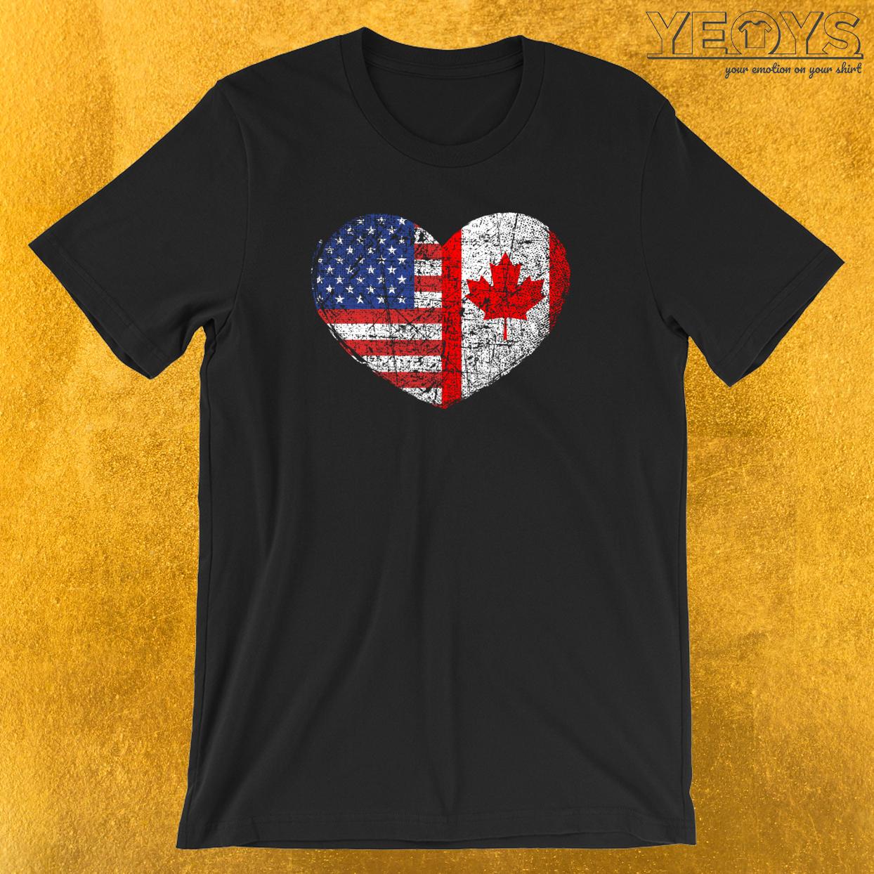 USA Canada Heart T-Shirt