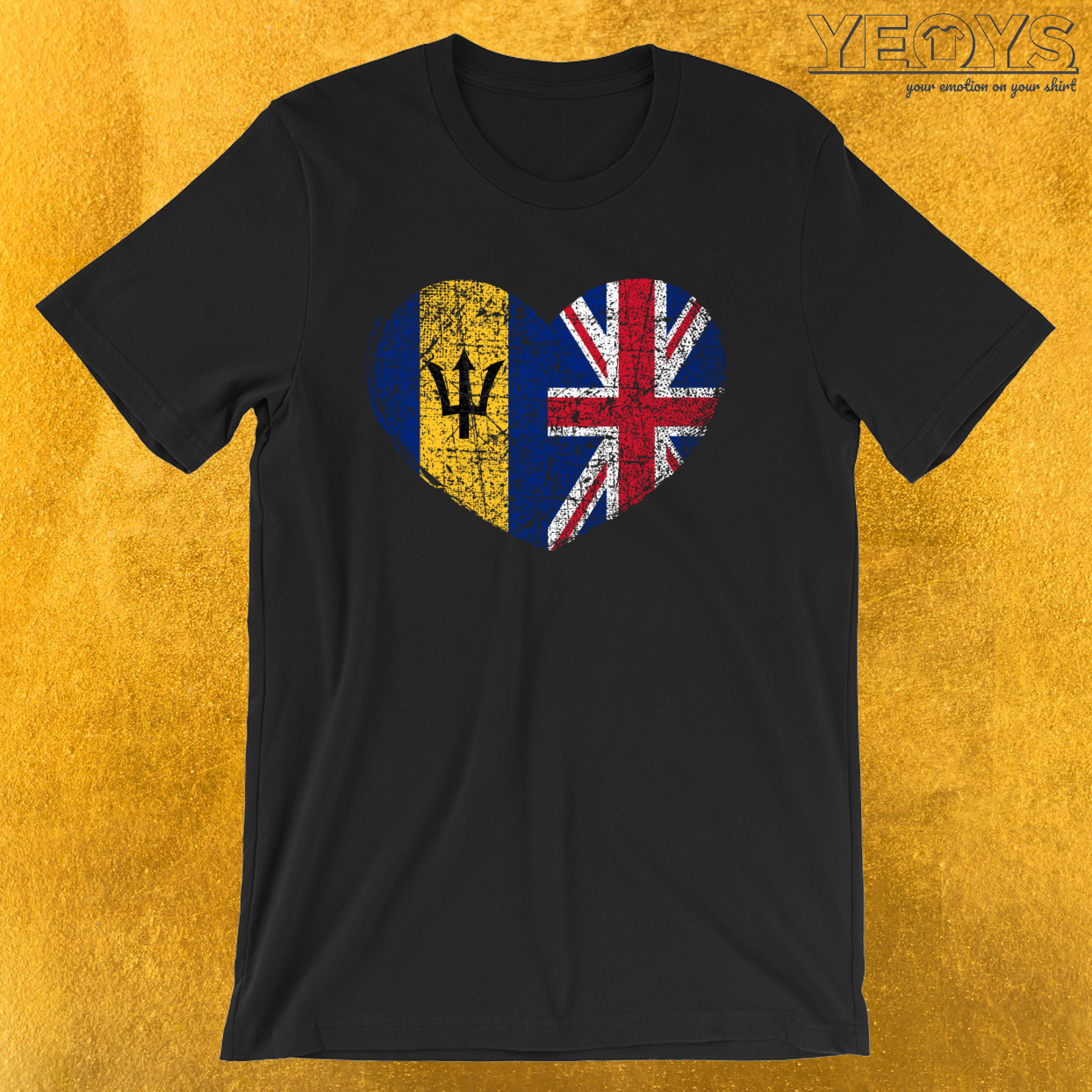 Barbados United Kingdom Heart – Dual Citizenship Tee