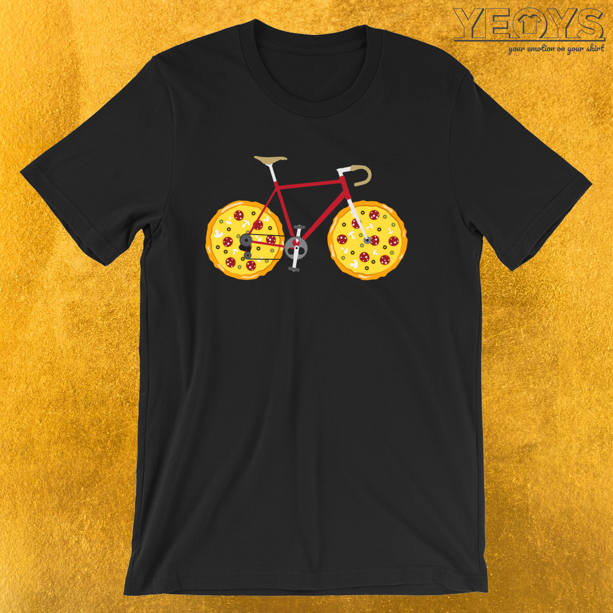 Funny Fastfood And Cyclist – Pizza Racing Bike Tee