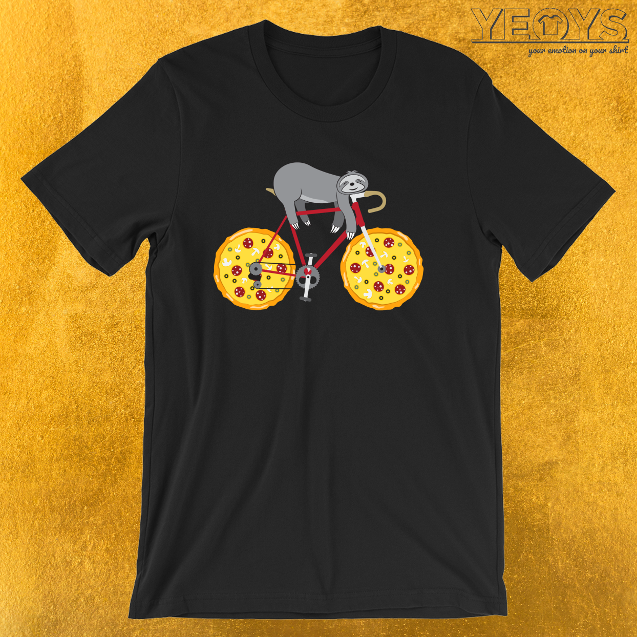 Pizza Cycling Sloth – Funny Fastfood And Sloth Cycling Team Tee