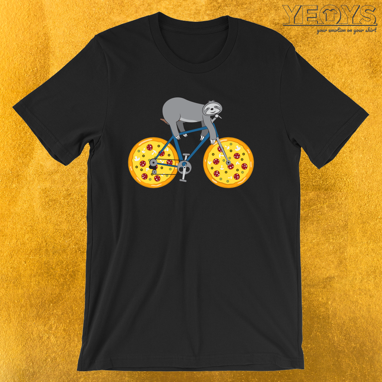 Pizza Mountainbiking Sloth – Funny Fastfood And Sloth Cycling Team Tee