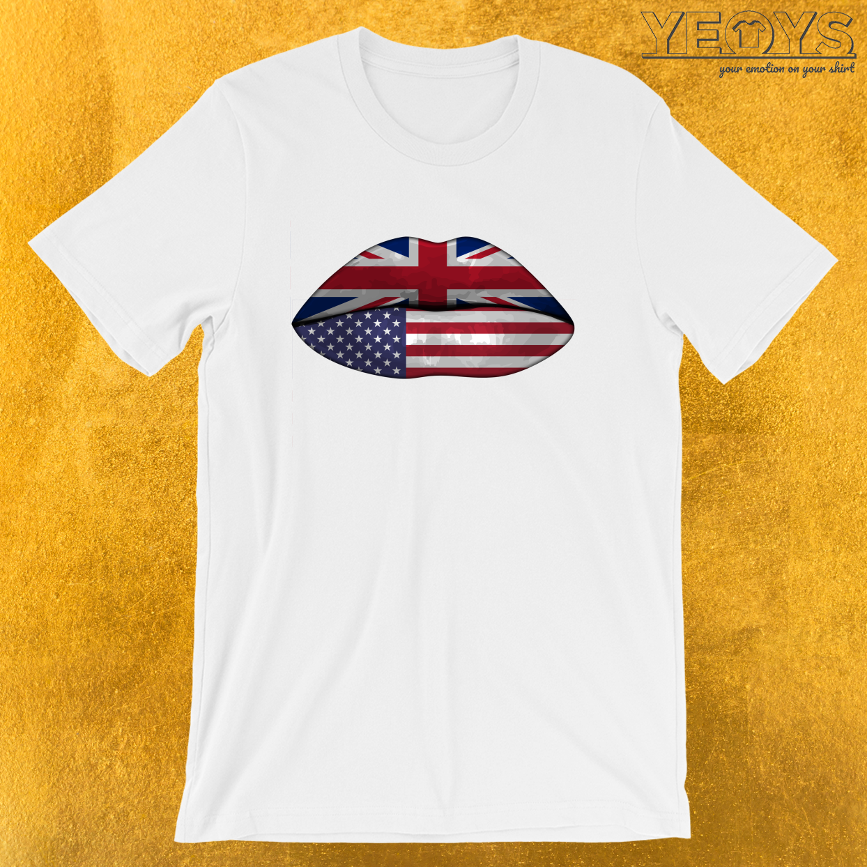 UK USA Flag Lips – Dual Citizenship Tee