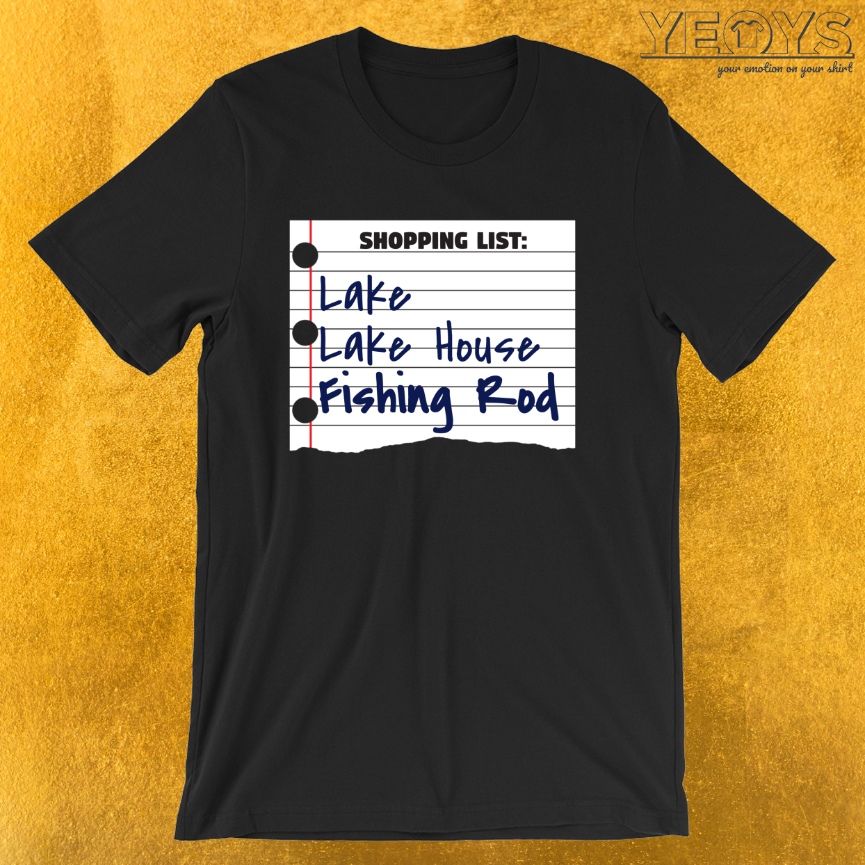 Shopping List Lake Lake House Fishing Rod – Old Fisherman Tee