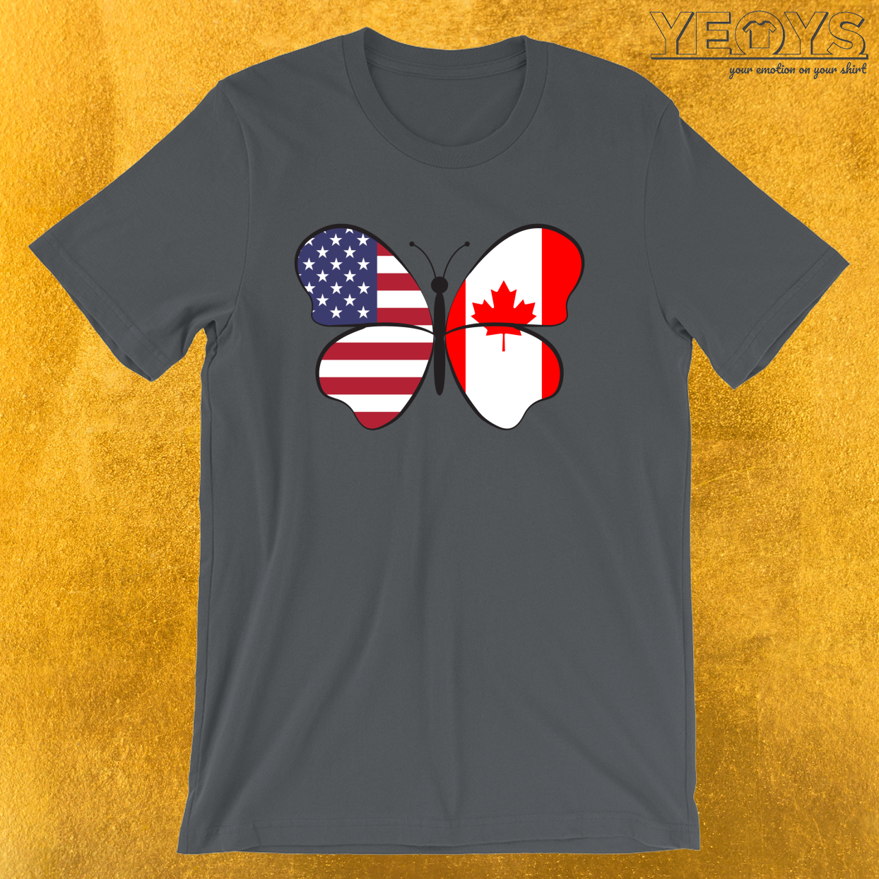 USA Canada Butterfly – Dual Citizenship Tee