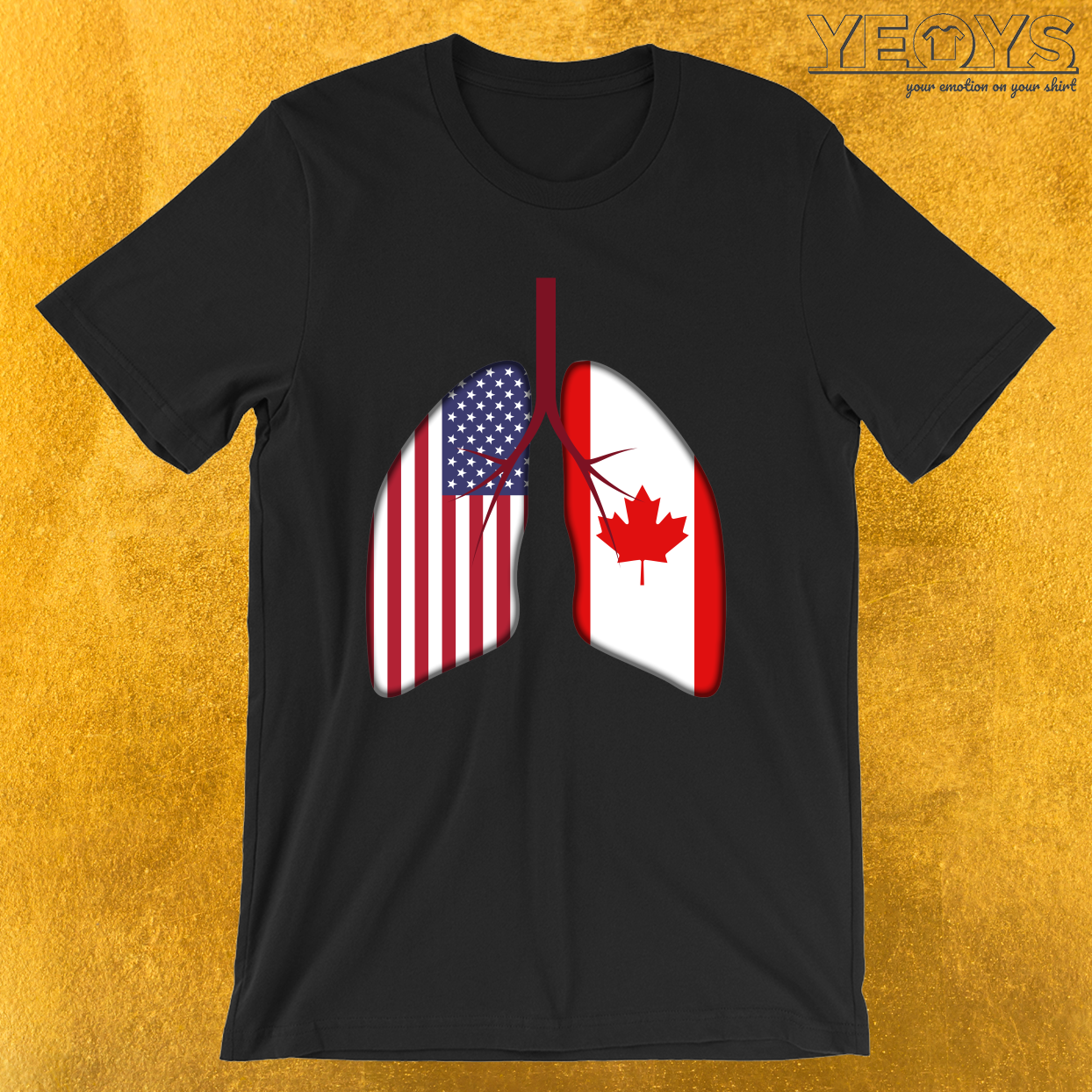USA Canada Flag Lungs – Dual Citizenship Tee