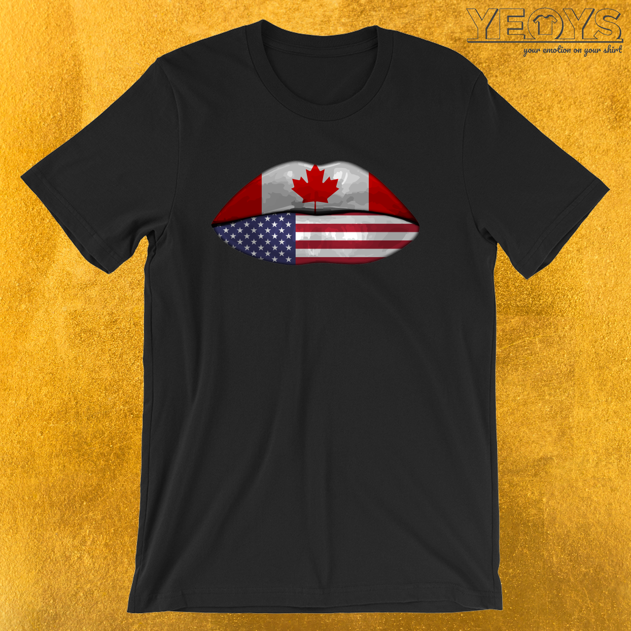 USA Canada Flag Lips – Dual Citizenship Tee
