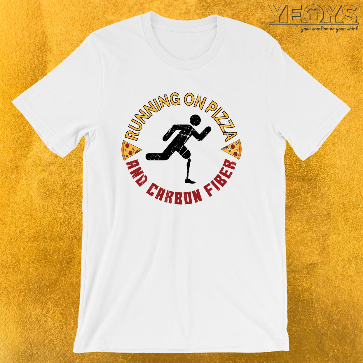 Running On Pizza And Carbon Fiber – Leg Amputee Tee