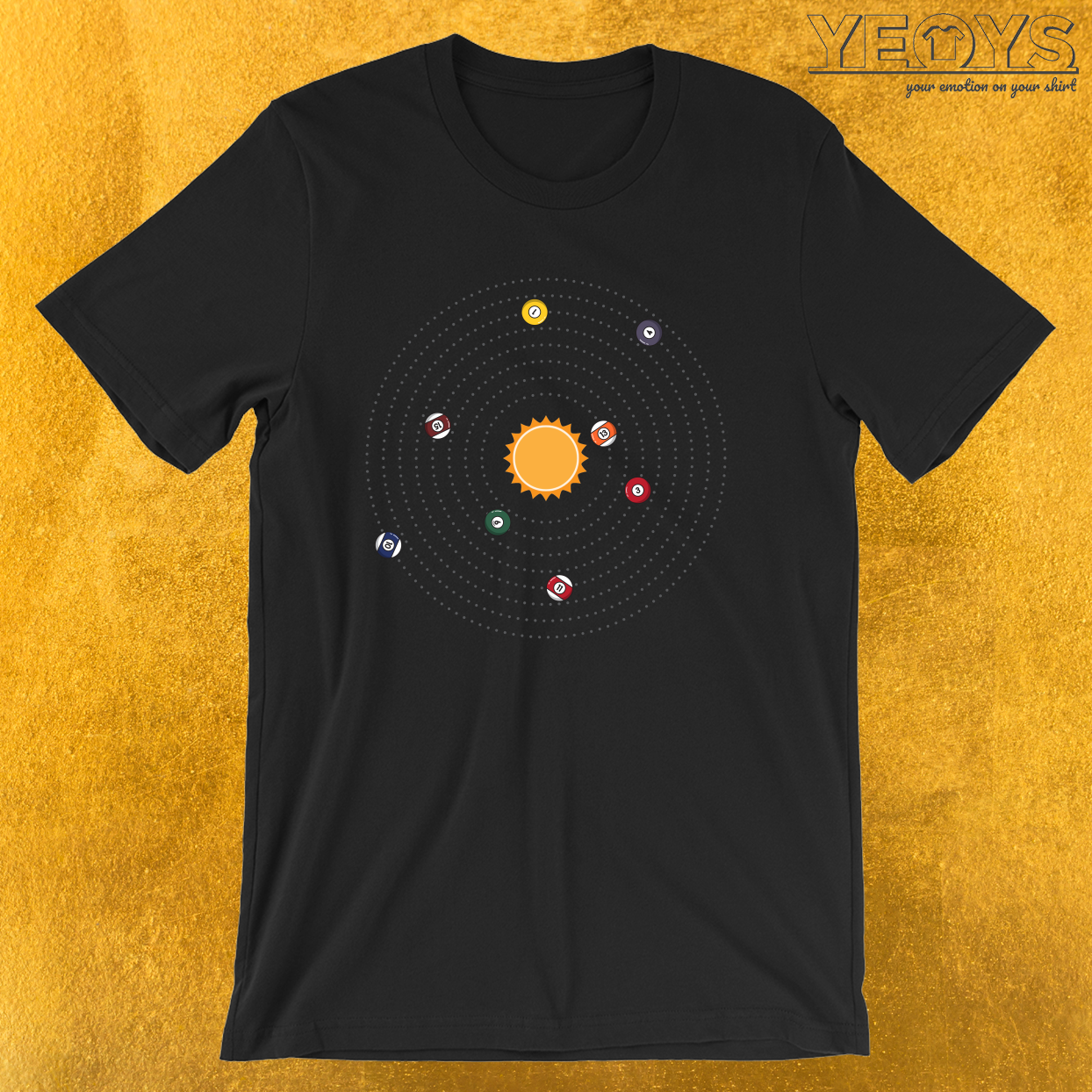 Eight Balls Planets Solar System – Pool Billiard Tee