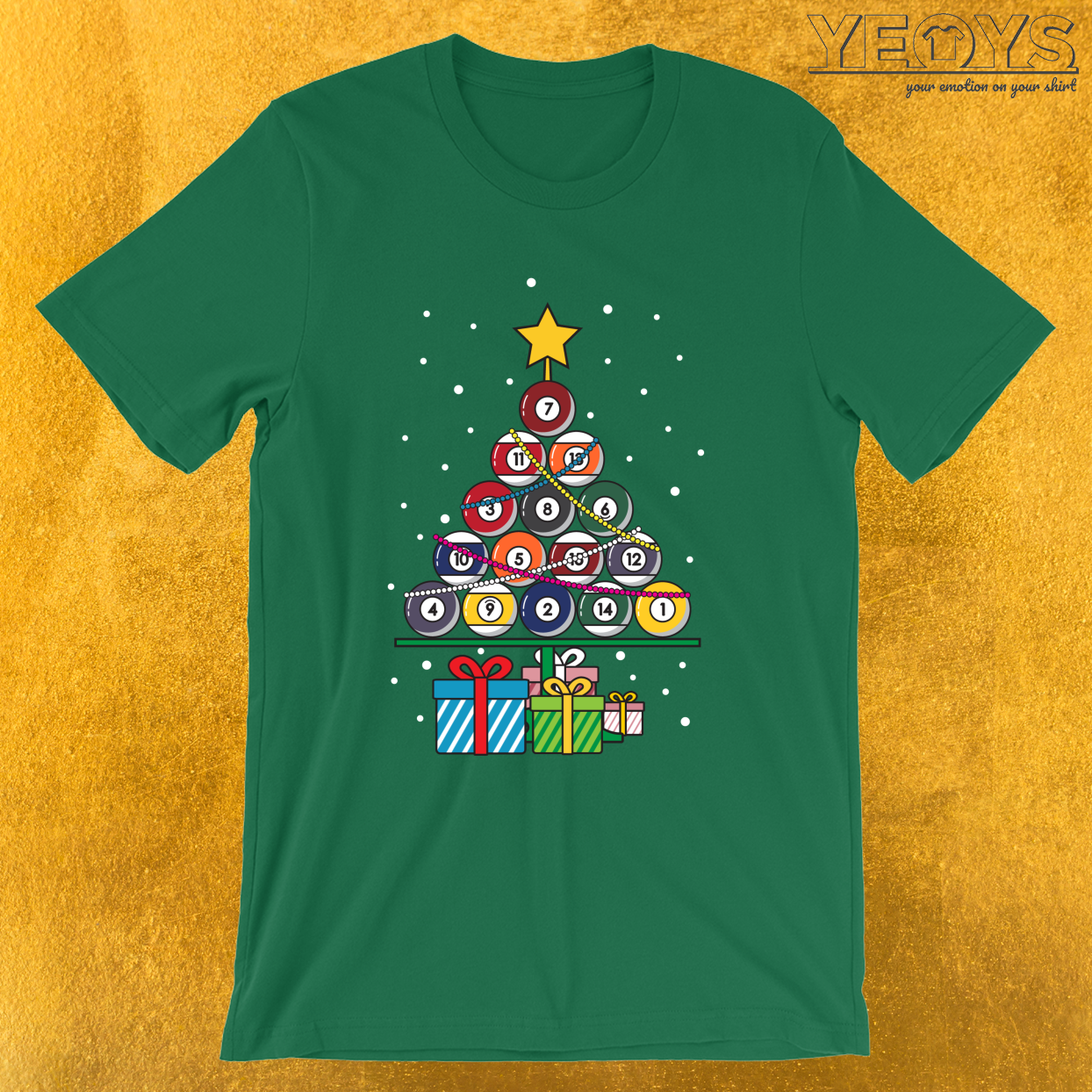 Billiard Ball Xmas Tree – Pool Billiards Christmas Tee