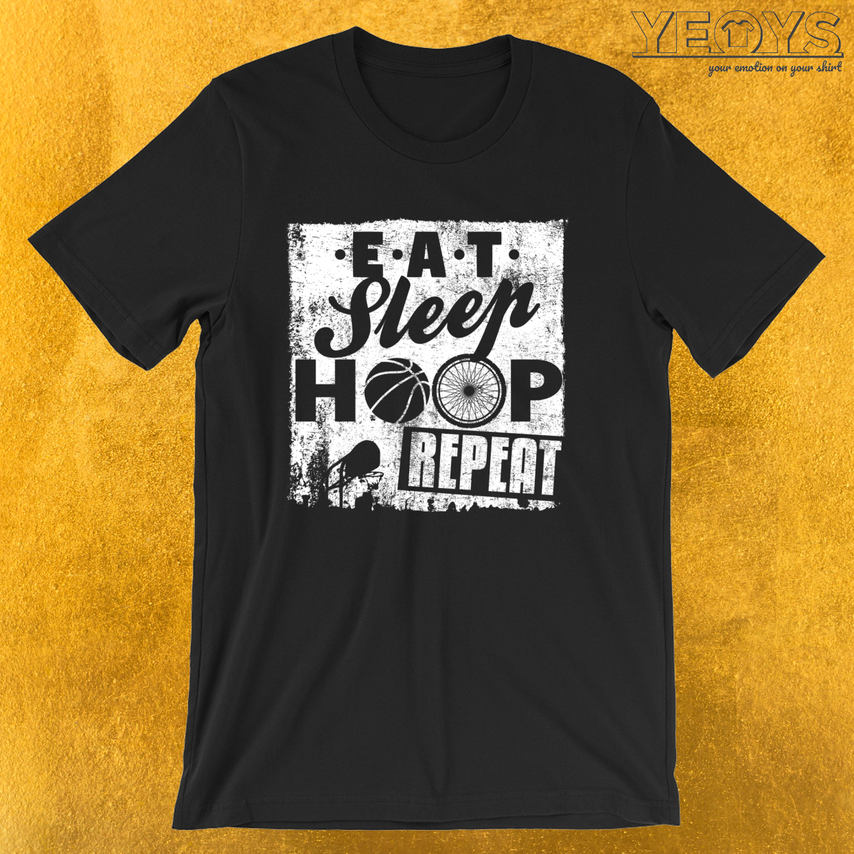 Eat Sleep Hoop Repeat – Wheelchair Basketball Tee