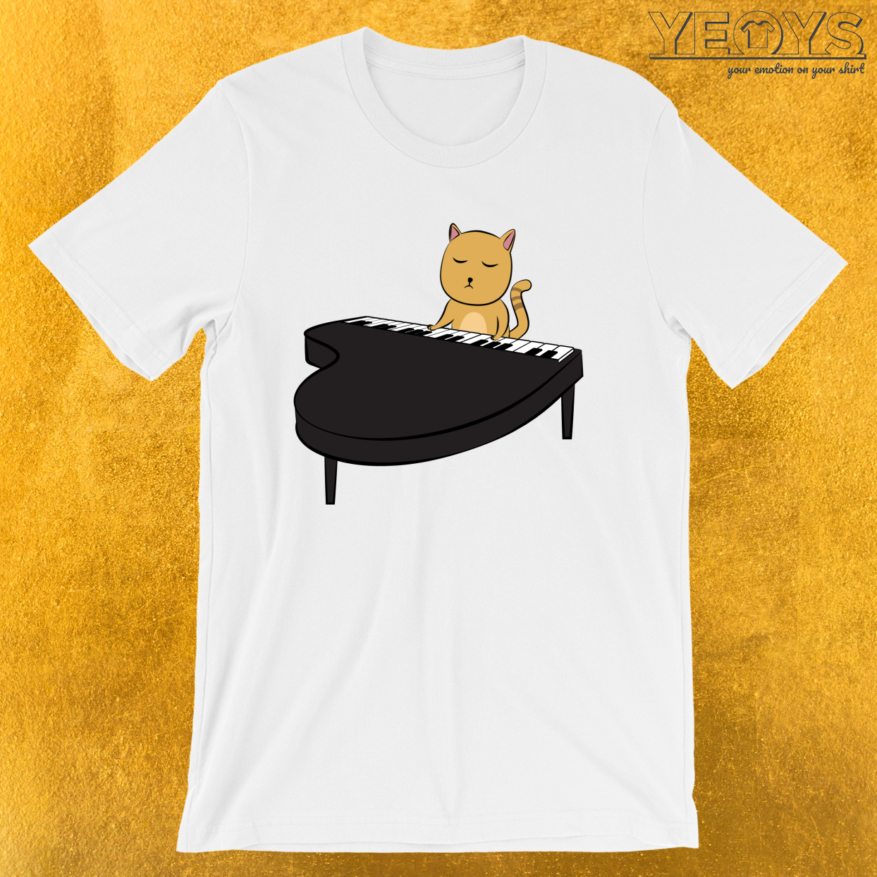 Funny Pianist – Cat Playing Piano Tee
