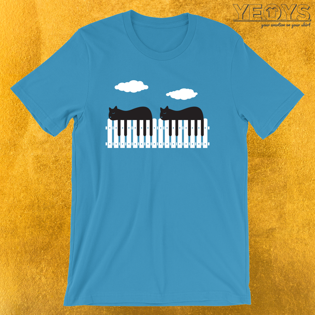 Black White Cat Piano – Funny Pianist Tee