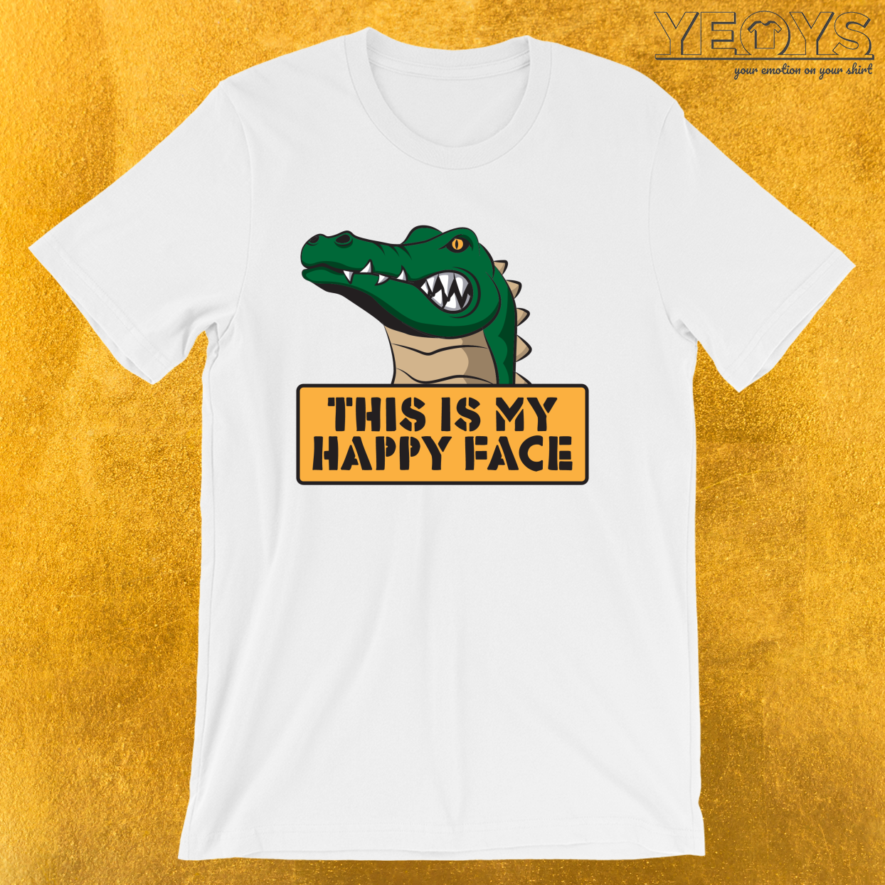 This Is My Happy Face – Reptile Party Alligator Tee